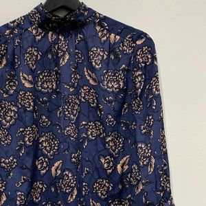 Banana Republic Factory Navy Floral Blouse